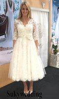 vestido de noiva com cinto venda por atacado-1950 Vintage Vintage Vestidos De Casamento A linha Lace Tulle Elegante Formal Vestidos De Noiva com Flor Artesanal Cinto Barato Garden Wedding Dress
