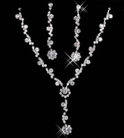 Wholesale bridal jewelry sets pearls silver resale online - 2020 Elegant Bridal Jewelry Necklace Alloy Plated Rhinestones Pearls Crystal Jewelry Set for Wedding Bride Bridesmaid In
