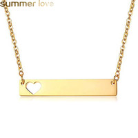 Wholesale gold buyers resale online - Fashion Gold Bar Tag Pendant Necklace Hollow Love Heart Tag Stainless Steel Necklace for Women Solid Blank Bar Charm Buyer Own Engraving