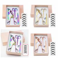ingrosso curler sopracciglia-Colorful oro del sopracciglio dell'acciaio inossidabile Scissor 3d visone del ciglio della pinzette Ciglia Curler Set taglio dei capelli Scissor trucco Set RRA2405