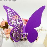 formas de tarjetas de mariposa al por mayor-50 piezas Laser Cut Butterfly Shape Place Cards Wedding Wine Glass Paper Card Wedding Event Patrón de corte láser Decoupage
