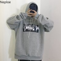 Wholesale korean black cosplay for sale – custom Neploe Korean Fleece Sweatshirt Woman Causal Hoodies Harajuku Cartoon Cosplay Hoodie Tops Spring Auntum Sudaderas MX190815