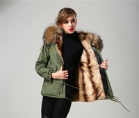Wholesale vertical lines for sale - Group buy Meifeng brand Cold resistant women snow coats Vertical apricot rabbit fur lining army green mini parkas with lavish brown raccoon fur hoody