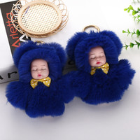 Wholesale cute dolls key ring for sale - Group buy Cute Sleeping Baby Doll Keychain Pompom Ball Carabiner Key Chain Keyring Women Kids Key Holder Bag Pendant key Ring Favor RRA2894