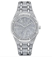 grande relógio legal venda por atacado-Diamantes cheios de homens assistem banda de aço relógios de alta qualidade grande discagem relógios de quartzo legal