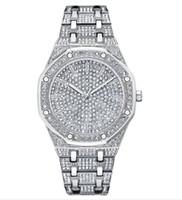 voller diamantquarz großhandel-Full Diamond Herrenuhren Stahlbanduhren hochwertiges großes Zifferblatt coole Quarzuhren