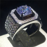 Wholesale clear finer ring resale online - choucong Luxury Male ring Big ct Clear A zircon cz Sterling Silver Engagement Wedding Band rings For men Fine Jewelry