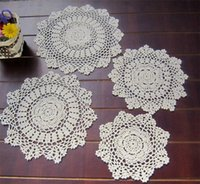 Wholesale hand made round mats resale online - Made Crochet doily placemat coasters place mats cm quot Beige white Hand wang