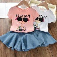 cooles mädchen scherzt t-shirt großhandel-Neue 2 STÜCKE Kleinkind Kinder Mädchen Kleidung Set Sommer Kurzarm Cool Girl T-shirt Tops Rock Outfit Kind Anzug