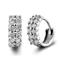 Wholesale double layer earrings resale online - pairs Hight Quality Double Layers Zirconia Small Hoop Earrings Silver Loop Huggie Earring Fashion Jewelry for Women