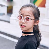 óculos de sol de criança de qualidade venda por atacado-Letra Vintage Crianças Óculos De Sol Da Moda Leopardo Impresso Óculos De Sol para o Menino Meninas Top Quality Rodada Sunblock Crianças para o Verão B107
