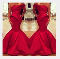 vestido de cetim árabe venda por atacado-2019 Novo Design Arábia Saudita Vermelho Querida Sereia De Cetim Até O Chão Vestidos de Noite Custom Made Prom Vestido Formal Vestidos de Festa 159