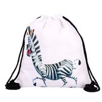 pano zebra venda por atacado-39x30 cm Engraçado Harajuku Pano Bonito Sacos de Cordão Canvas Kawaii Sacos de Armazenamento Mochila 3d Impressão Saco Do Presente Das Mulheres Zebra Cor Branca