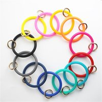 Wholesale new product key for sale - Group buy Silicone Metal Bangles Chains Wristbands Leather Wrap Key Ring Pure Color Bracelets Popular New Product by J1
