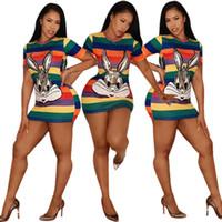 blok renk elbiseleri toptan satış-Kadınlar Tasarımcı stil Elbise Elbise Tavşan Renk Blokları Seksi Ince Elbiseler Kısa kollu Karikatür Sequins 2019 Trendy Yaz Toptan DHL