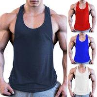 gilets de style musculaire achat en gros de-2019 Nouveau Style Mode Hommes Chauds Entraînement Solid Bodybuilding Gilet Gym Muscle Fitness T-shirts