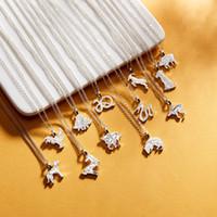 tierkreuzkarten großhandel-Europäische und amerikanische grenzüberschreitende Tierschmuck 12 Zodiac Papierkarte Silber überzogene Halskette Exquisite Damenschmuck Fabrik Großhandel