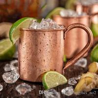 becher tasse box großhandel-DLM2 415ml 135g Tee Tassen Bierflaschen Kaffeetassen Moscow Mule Cup reines Kupfer Griff Becher mit wihite Kasten 10pc H75