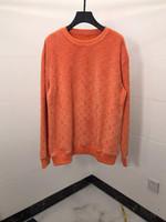 бархатная толстовка оптовых-19ss франция италия новая горячая мода бархатный оранжевый пуловер письмо хлопок мужчины женщины мужские толстовки роскошные кофты