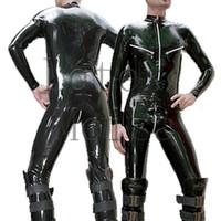 siyah lateks kauçuk erkekler toptan satış-Lateks zentai rubber catsuit erkek tulum ekli 3 fermuar (göğüs, omuz ve kasık) siyah renkte çorap hariç