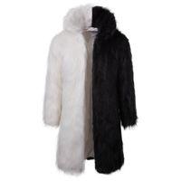 marka kış ceketi kürk erkek toptan satış-Erkekler Kürk Kapşonlu Kış Faux Kürk Dış Giyim Coat Erkekler Punk Parka Ceketler Uzun Deri Paltolar Hakiki Kürk Marka Giyim J1811159