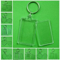Wholesale zinc frames resale online - 1Pcs Rectangle Transparent Blank Acrylic Insert Photo Picture Frame With Keyring DIY Split Ring Gift