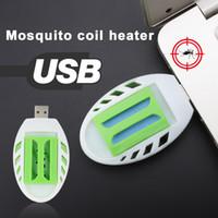 repelente de mosquito venda por atacado-Mosquito Mosquito Mosquito Mosquito Portátil Repelente Repelente Incenso Aquecedor USB Verde + Branco Plástico Sono Moscas Repelente carro