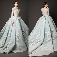 Wholesale evening dresses inspired celebrities for sale - Group buy 2020 Ball Gown High Neck Prom Dresses Elie Saab Appliques Beaded Arabic Evening Dress Long Sleeves Vintage Red Carpet Celebrity Party Gowns