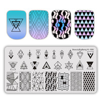 Wholesale xl stamping plates resale online - BeautyBigBang cm Stamping For Nails Summer Flower Geometry Plate Rectangle Nail Stamping Plates Nail Art Template BBB XL
