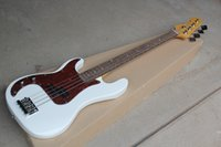 guitarra elétrica branca esquerda venda por atacado-Fábrica Personalizado de 4 cordas da Mão Esquerda Branco Elétrico Bass Guitar com Red Tortoise Pickguard, Rosewood Fingerboard, Oferta Personalizada