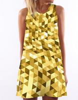 faldas amarillas estampados moda al por mayor-Chaleco de las nuevas mujeres del verano vestido de moda amarillo diamante impresión digital falda de una línea de cuello redondo sin mangas de cintura corta vestido corto S-XL