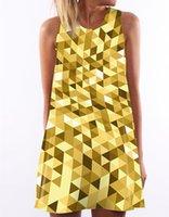gelbe röcke druckt mode großhandel-Sommer Neue frauen Weste Kleid Mode Gelb Diamant Digitaldruck A-linie Rock Rundhals Ärmellos Lose Taille Kurzes Kleid S-XL