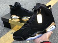 baskets à talons noirs achat en gros de-Designer jordan Shoes DMP Retro 6 Mens Basketball Chaussures Hommes en jean délavé Athletic Retro Chaussures 6 Baskets Chaussures homme or noir Talons Sneaker