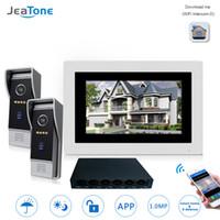video erişim kontrolü toptan satış-2 Kapılar için 7 '' WIFI IP Görüntülü Kapı Telefonu İnterkom Kablosuz Kapı Bell Hoparlör Erişim Kontrol Sistemi Dokunmatik Ekran Hareket Algılama