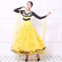 ingrosso pannello esterno giallo della sala da ballo-Ballroom Competition Dance Dresses Women Yellow Waltz Team Show Gonna Abito da ballo standard da donna