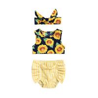 ekose gömleği yelek toptan satış-3 ADET Pudcoco 2019 Yeni Marka Toddler Yenidoğan Bebek Kız Ayçiçeği Üstleri Yelek Ekose Şort Külot Kıyafetler