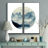 Wholesale chinese landscape canvas oil paintings for sale - New Chinese living room modern mural Xuan Guan corridor study landscape painting