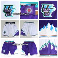 desgaste do jazz venda por atacado-Homens Utah Jazz retro Donovan Mitchell Calças Mitchell curtas Grayson Allen respirável Sweatpants Classic Team Sportswear Wear Curto