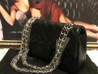 gümüş deri omuz çantası toptan satış-2019 modası Düşük Fiyat! Klasik PU Deri Siyah Altın Gümüş Zincir Perakende Yeni Çanta Çanta tasarımcısı Omuz Çantaları Tote Çanta Messenger