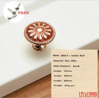 europäischer stil kabinett zieht großhandel-8021-Amber Red Türgriffe Kleiderschrank Schublade zieht Küchenschrank Knöpfe und Griffe Beschläge für Möbelgriffe europäischen Stil