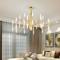 moderne pendelleuchte großhandel-Moderner Modedesigner Black Gold Led Decke Art Deco ausgesetzt Kronleuchter Licht Lampe für Küche Wohnzimmer Loft Schlafzimmer