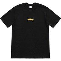 t shirt ön kısa toptan satış-18FW Kutusu Logosu Altın Diş Cepheleri Tee Üstleri Renk Lüks Sokak Kaykay Moda Kısa Kollu Rahat Açık Tur T-Shirt HFTTTX084