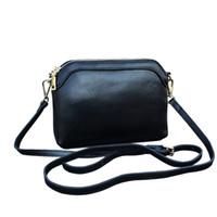 черный длинный ремень плечо сумки оптовых-Genuine Leather Women Shoulder Bag 2019 New Casual Long Shoulder Strap Crossbody Messenger Bags  Design Black Clutch Bags