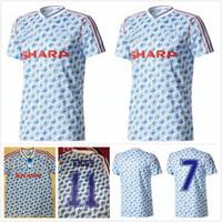 camisa paul venda por atacado-Robson Hughes McClair RETRO MANCHESTER UNITED 1990 1992 afastado camisas do futebol 90 92 camisas de futebol do vintage MAN UTD Camiseta Sharpe Paul Ince