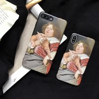 Wholesale hot iphone girl online – custom Hot Top Girl and Cat Painting Shockproof Soft Back Cover TPU Cell Phone Cases Protective Covers For iPhone X XR XS MAX S PLUS