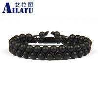 Wholesale ailatu for sale - Group buy Ailatu Men Bracelet Nice Beaded mm Natural Double Onyx Quality Bracelet Black SH190925 Stone Macrame Gift Top Friendship Matte Icjnp
