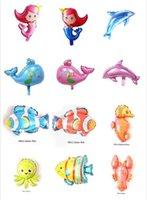 ballon de la vie achat en gros de-2019 Vente chaude Mini Poulpe Homard Hippocampe Ballon En Aluminium Poissons Tropicaux Vie Marine Enfants Dessin Animé Animaux Ballons