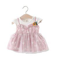 ingrosso bambina neonato coreana-Vestito a farfalla coreano Baby Girl Dress Voile Summer manica corta 1 ° compleanno Dress Suspender Falso 2pcs abiti da neonato in cotone