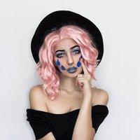 perruques partie droite achat en gros de-Rose Lace Front perruques pour femmes moitié main liée Bob Wavy Rose perruque cheveux courts côté droit Partie épaule longueur rose perruques synthétiques