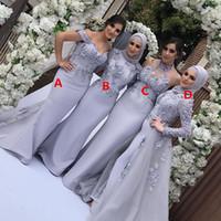 Wholesale muslim flower hijab for sale - Group buy Arabic Long Sleeve Mermaid Muslim Bridesmaid Dresses with Hijab Detachable Skirt D Flower Long Wedding Guest Formal Party Gowns